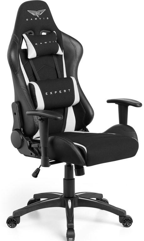 Gamvis EXPERT Textil Gamer Szék – Fekete/Fehér