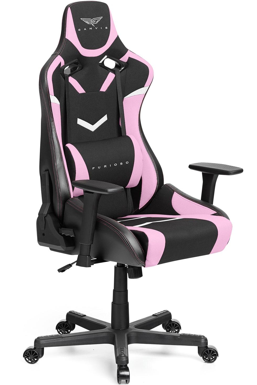 Materiałowy Fotel gamingowy Gamvis Furioso Różowy 11