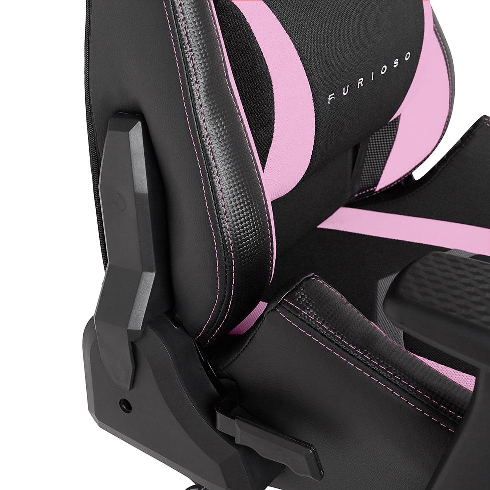 Materiałowy Fotel gamingowy Gamvis Furioso Różowy 4
