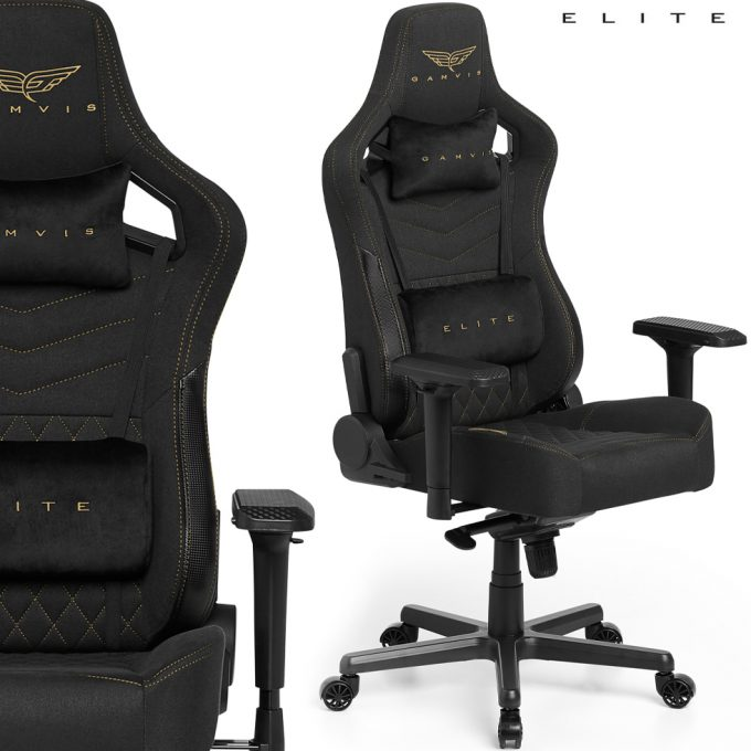 Gamvis ELITE 2.0 XL Textil Gamer Szék – Fekete/Royal Gold